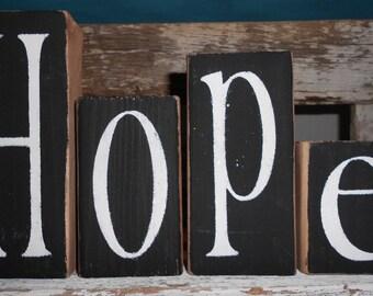 Hope Wood Blocks Black Shelf Sitter Blocks Inspirational Hope Blocks