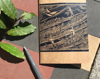 Gig rower hand printed lino block eco sketchbook