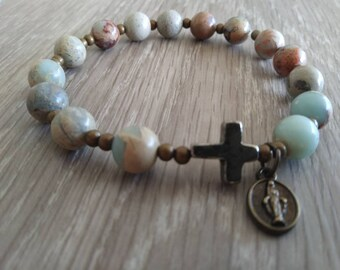 Rosary Stretch Bracelet, Snakeskin Jasper Beads