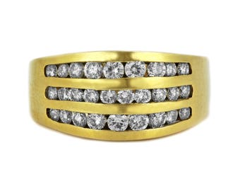 1.55ct Round Diamonds 14K Yellow Gold Domed Wedding Anniversary Ring - Size 8 RESIZABLE