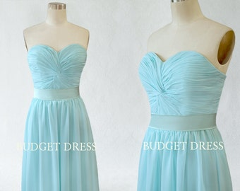 Floor Length A-line Sweetheart Neckline Strapless Chiffon Prom Dress with Lace-up - Bridesmaid Dresses - Prom Dresses