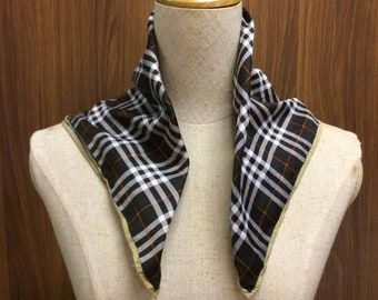 Vintage Burberry Square Scarf Checkered Print Handkerchief