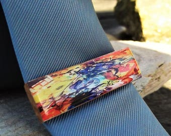 Wood & Resin Tie Slide,Tie bar,Tie clip, Tieslide-Colour up your day, fathers day,5 anniversary wood,boyfriend,dad,husband,man gift