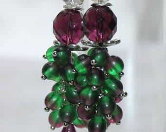 Purple Green gradient Glass beads Earrings Beaded Earrings Czech Glass beads Womens Jewelry Gift for Her beadswork