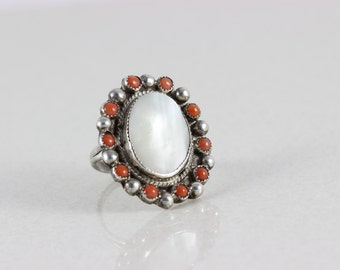 Sterling Silver Mother of Pearl Coral Zuni Halo Ring Size 7 1/2