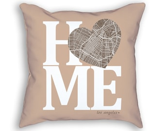 Los Angeles California Street Map Home Heart Throw Pillow, Los Angeles Pillow, Los Angeles Cushion, Los Angeles Throw Pillow, LA Home Decor