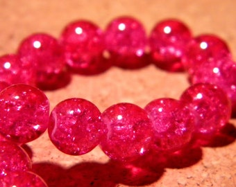 glass Crackle 8 mm - fuchsia - PF64 50 beads