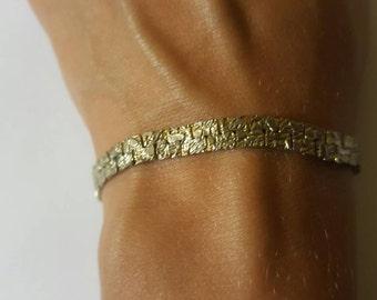 Gold Nugget looking Bracelet, vintage jewelry