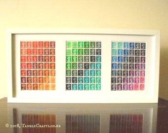 Rainbow Postage Stamp Triptych - Framed Stamp Art | Multicolor Chromatic Collage Art, Upcycled Office Wall Art | Recycled Art British Stamps