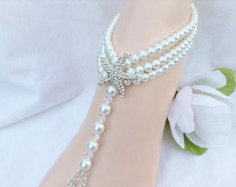 Starfish Barefoot Sandals White Pearls Wedding Foot Jewelry Bridal Barefoot Sandles Beach Wedding Sandals