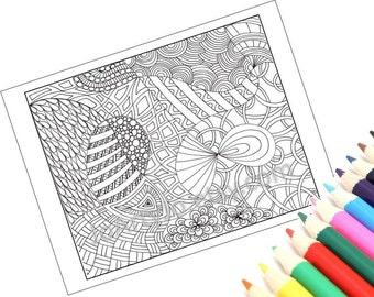 Printable Zentangle Inspired Coloring Page - Zendoodle Page 7 Instant Download