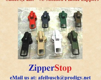Universal Sliders- Pick your color and quantities~ Fits almost every #5 Vislon Zipper ~ZipperStop Wholesale Authorized Distributor YKK®