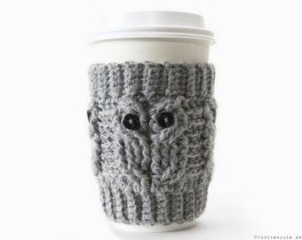 CROCHET PATTERN - Owl Love Coffee Cozy - Instant Download (PDF)