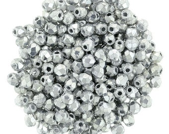 2mm FP Glass Bead #27000 Silver x 100pcs