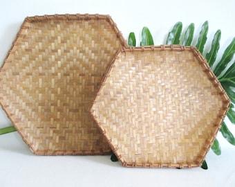 2 Hexagon Baskets Wall Hangings Winnowing Baskets Boho Chic Bohemian