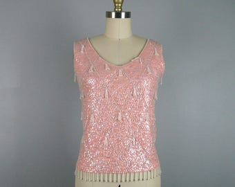 Vintage 1960s Pink Wool Knit Shell Top with Sparkling Sequins 60s Blouse Size M