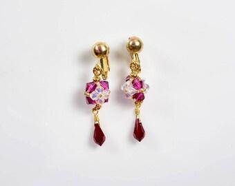 Swarovski crystal cube and Swarovski crystal teardrop clip-on earrings