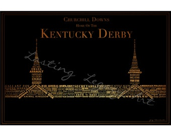 KY Derby Winners Typography Print