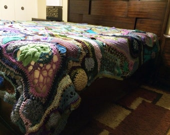 "One of a Kind Freeform Crochet King Size Blanket-""Liquid"""
