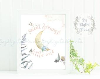Watercolor Moon, Girl's Nursery Print, Digital Art Print, Boho Print, Realistic Watercolor, Sweet Dreams Little One, Quote, Blush, Crescent