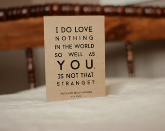 Much Ado About Nothing Shakespeare Greeting Card : Recycled Kraft Paper