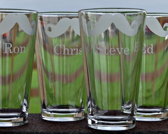 Set of 10 Etched Mustache Pint Glasses by Jackglass on Etsy