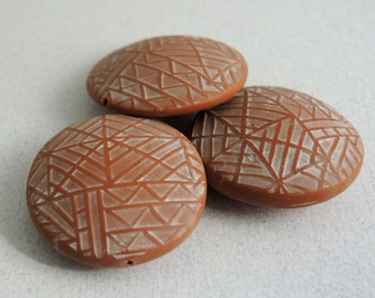 Polymer Clay Lentil Beads - Terra Cotta - Geometric Design - Set of 3
