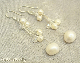 White freshwater pearl earrings with crystal, bridal, dangle - sterling silver ear wires