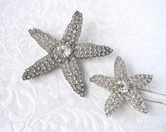 Rhinestone Starfish Brooch & Hair Comb Demi Parure Beach Wedding Bohemian Chic Bride Bridal Jewelry Accessory Ballroom Pageant Matching Set