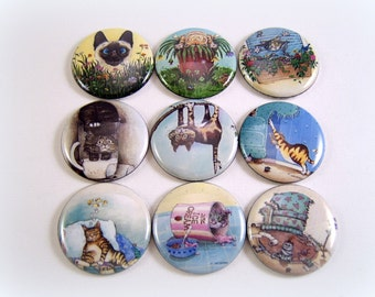 Cat Magnets Pins or Flat back Buttons, 12 ct