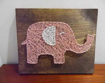 Baby elephant string art, elephant string art, baby girl nursery decor, nursery string art, nursery elephant art, baby elephant decor, art