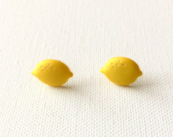 Lemon Stud Earrings, Fruit Earrings, Citrus, Summertime, Lemonade, Kawaii, Mini Food