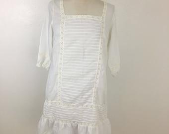 Women's Vintage White Slip- Antique slip dress