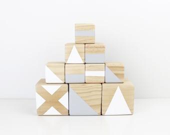 Wooden stacking blocks - grey + white
