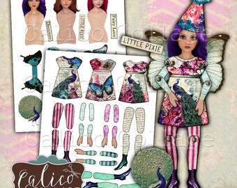 Bedruckbar, Papier-Puppen, Digital, Collage Blatt, Frühling Pfau, Puppen, veränderte Kunst-Puppe, Vintage bedruckbar, Decoupage Papier, Handwerk-Blatt