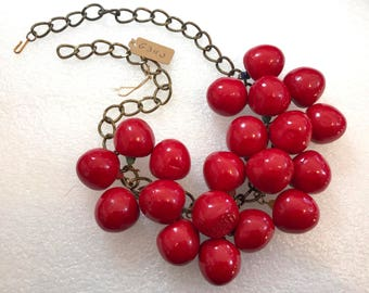 Vintage papier mache' cherries necklace