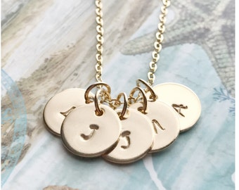 Gold Five Initial Necklace - 5 Initial Necklace - Hand Stamped Necklace - Small Gold Filled Disc Necklace - Personalized Disc Necklace