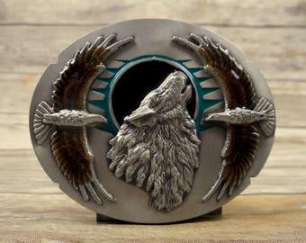 Wolf Eagles Belt Buckle Siskiyou Silver Brown Black Moon Teal Country Western