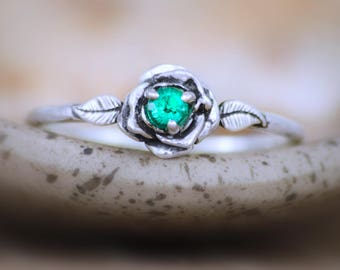 Sterling Silver Rose Engagement Ring - Emerald Gemstone Promise Ring - Delicate Flower Ring - Emerald Birthstone Ring - May Birthstone Ring
