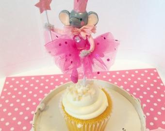 Pink Elephant Ballerina/Dancer/Princess Cupcake Topper