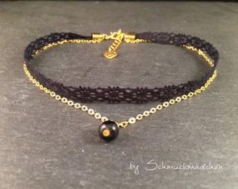 Chain Choker Black Lace gold