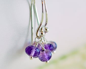 Purple Earrings, Amethyst Gemstone Drops, AAA Semiprecious, February Birthstone, Wire Wrapped, Sterling Silver Jewelry, Free Shipping
