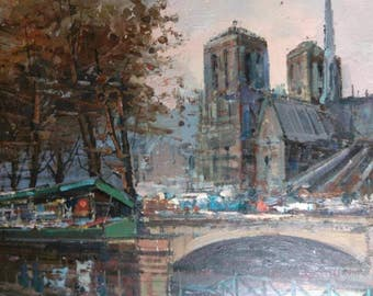 Vintage Old Artist Signed Mid Century Modern French Paris Landscape Oil Painting