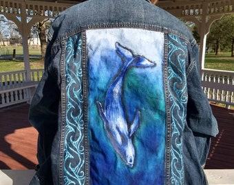 Hand painted whale ocean denim jeans jacket-ooak- painted clothing- humpback- tribal design waves