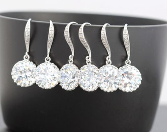 5 pairs of round earring 5 bridesmaid earring cz earring bridesmaid gift