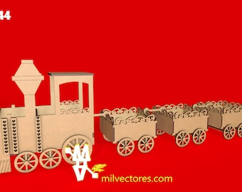 Vector for Laser Cut Train with wagons for candy table