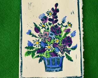 Spring Bouquet - 5 Original Lino Block Notecards