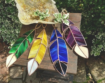 Medium Handmade Stained Glass Feather