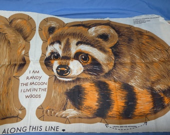 Randy the Racoon Vintage Fabric Pillow Panel, Cut, Sew, Stuff