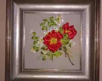 Embroidered Roses.Gentle bouquet.Ribbon embroidery.Home decor.Gift.